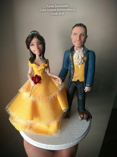 Cake topper sposi la bella e la bestia