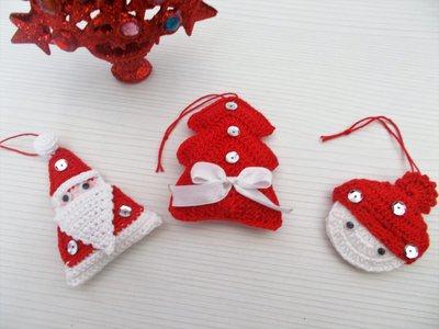 Segnaposto Natalizi Alluncinetto.Segnaposto Decorazione Alberello Di Natale Uncinetto