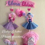Fiocco nascita banner gemelle principesse cenerentola