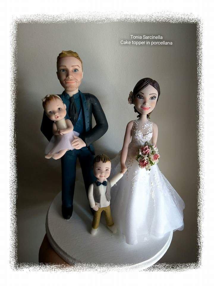Cake topper sposi con figli