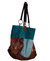 "Borsa in velluto jeans e broccato ""Betta"""