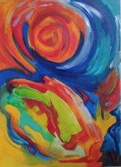 dipinto (29) olio su carta astratto quadro-poster