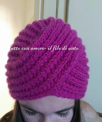 Cappello turbante in pura lana 100%