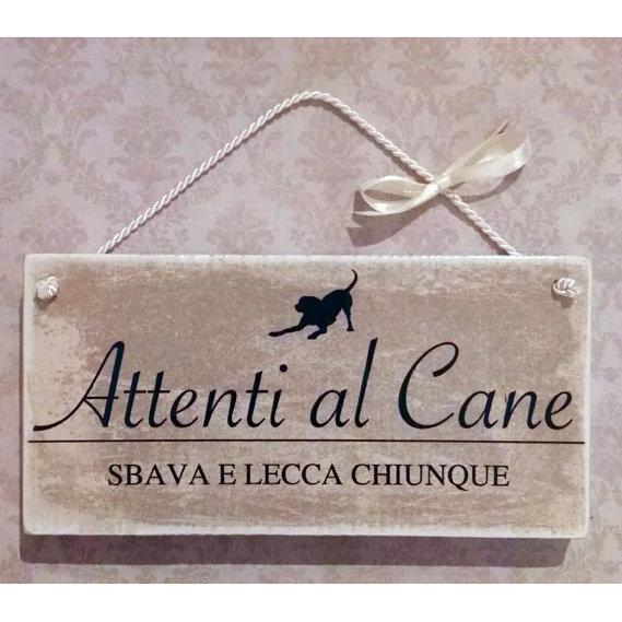 """Targhetta in legno """"ATTENTI AL CANE"""""""