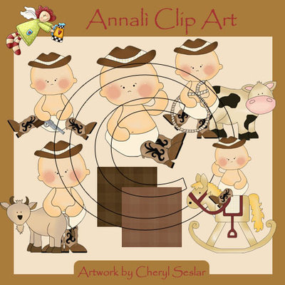 Clip Art per Decoupage e Scrapbooking - Bimbi Baby Cowboy - IMMAGINI
