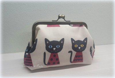 Borsellino con chiusura metallica e stoffa con gattini
