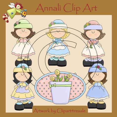 Clip Art per Decoupage e Scrapbooking - Bimbe in Giardino - Girls in the garden - IMMAGINI