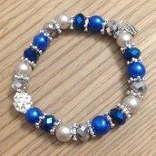 Braccialetto elastico con perle blu e argento e con brillantini