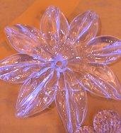 Fiore o rosetta, ricambio per specchi e per lampadari, in vetro soffiato di Murano, color trasparente