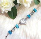 Orologio con perle a foro largo azzurro