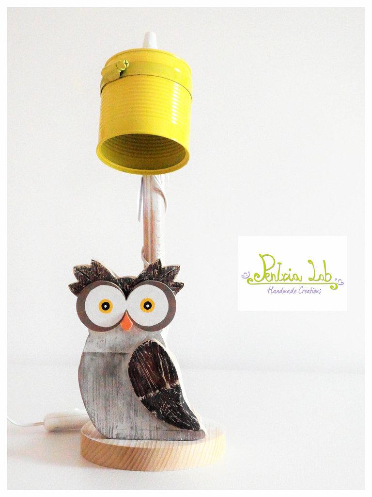 Gufo in legno di recupero di abete, oggetto decorativo. Misura Grande - riciclo creativo