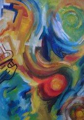 dipinto (18) olio su carta asrtatto quadro-poster