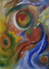 dipinto (17) olio su carta astratto quadro-poster