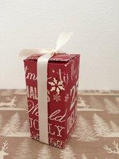 Scatolina Natale porta candele rossa con nastrino