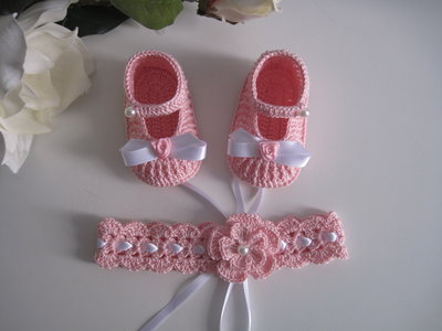 Set coordinato scarpine/fascetta capelli rosa neonata cotone battesimo nascita cerimonia uncinetto