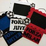 Cornice portafoto per tifosi delle squadre di calcio di Inter, Juve e Milan