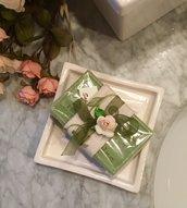 Sapone naturale di Provenza alla profumo di Verbena con tessuto trentino, saponi bio, saponetta vegetale