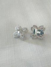 orecchini a clips con conteria e mezzo cristallo bianco