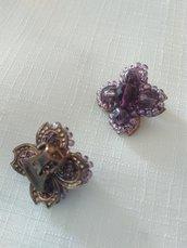 orecchini a clips con conteria e mezzo cristallo viola