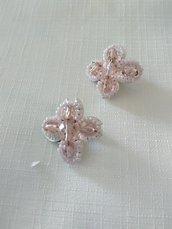 orecchini a clips con conteria e mezzo cristallo rosa