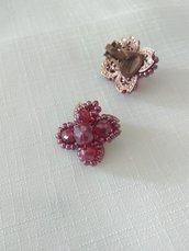 orecchini a clips con conteria e mezzo cristallo rosso