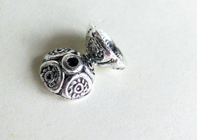 10  capsule per perle in argento tibetano  FER 55