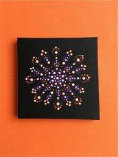 Quadretto mandala. Mandala su tela dipinto con tecnica dot art da appendere.