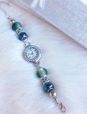 Orologio con perle a foro largo verde