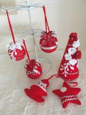 Set decorazioni Natale rosso/argento.