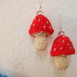 Orecchini funghi di bosco rossi