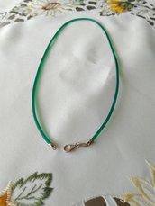 1 cordino in caucciù colore verde trasparente  e chiusura in argento 925, 45 cm