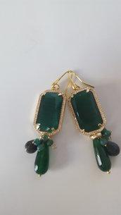 Orecchini pietre vere verdi