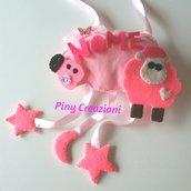 Fiocco nascita rosa nuvola  con pecorella
