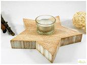 Stella in Legno Massello di okumè, effetto decapato bianco e porta tealight in vetro