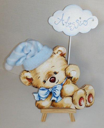 Fiocco nascita con nome bimbo con orsetto