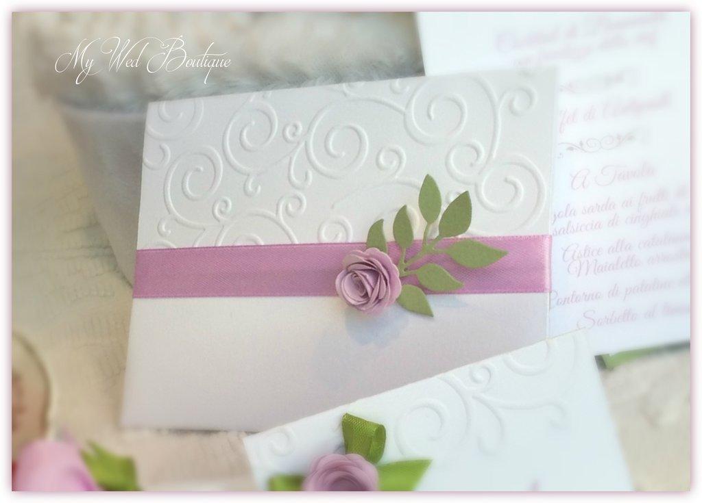 Partecipazione di nozze elegante - Rose