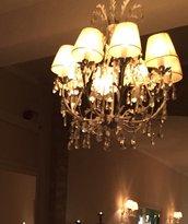 Lampadario, in vetro di Murano e cristalli Swarovski, color cristallo trasparente e pezzi di ricambio per lampadari e specchi con pezzi rotti, come Venini, Mazzega, Artemide, Arlecchino, personalizzati