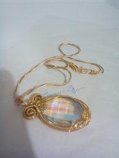Collana con Grande ciondolo di cristallo con splendidi riflessi