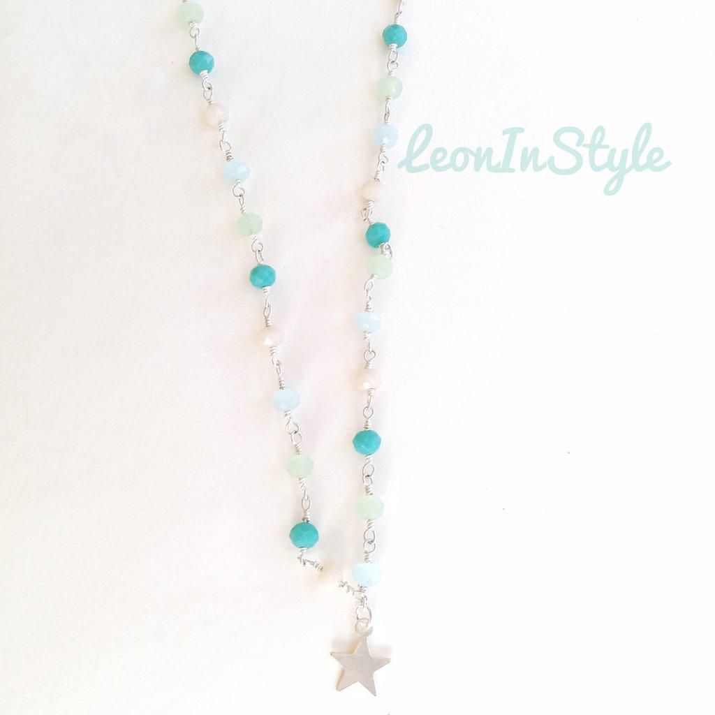 Collana rosario con mezzi cristalli
