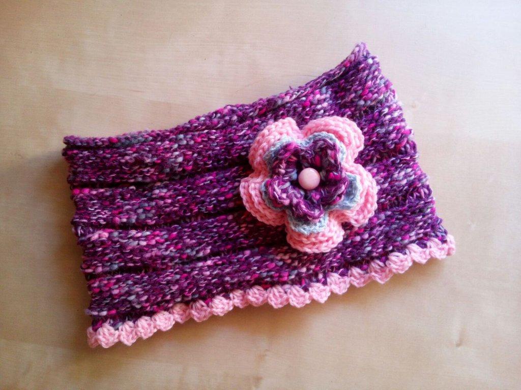 scaldacollo lana bambina a uncinetto fatto a mano con fiore rosa - idea regalo ragazza - sciarpa ad anello