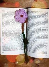 segnalibro a crochet a forma di rosa, con perlina decorativa, segnalibro ad uncinetto, segnalibro a rosa, oggetto per lettura, colore lilla