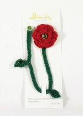 segnalibro a crochet a forma di rosa, con perlina decorativa, segnalibro a rosa, oggetto per lettura, color rosso