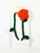 segnalibro a crochet a forma di rosa, con perlina decorativa, segnalibro a rosa, oggetto per lettura, color arancione