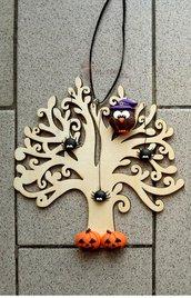 """Albero della vita tema """"Halloween"""" con gufetto-strega in fimo"""