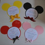 Inviti Festa Compleanno o Inaugurazione Topolino Personalizzabili in cartoncino