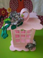 Lanterna feltro rosa idea regalo Natale  fiori carta  bomboniera anniversari compleanni