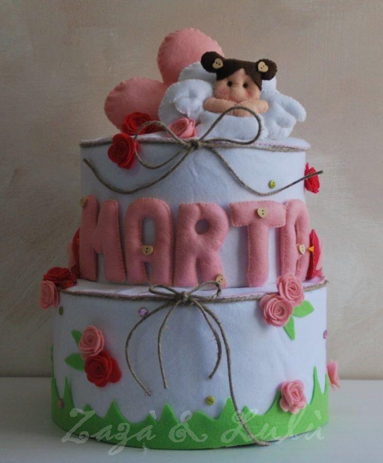 Centrotavola Torta Finta Polistirolo Nascita Battesimo Bambino Bambina Handmade