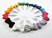 Fermaglio all'uncinetto a forma di fiocco, fermaglio fiocco, fermacapelli fiocco, fiocco, vari colori