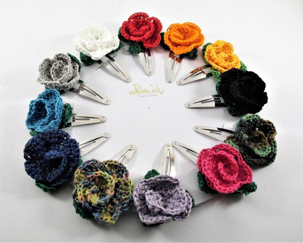 Fermaglio ad uncinetto a forma di rosa, fermaglio fiore rosa, fermacapelli, fiore, vari colori