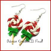 Natale in Dolcezze -  Orecchini lecca lecca - lollipop natalizi! handmade kawaii idea regalo fimo